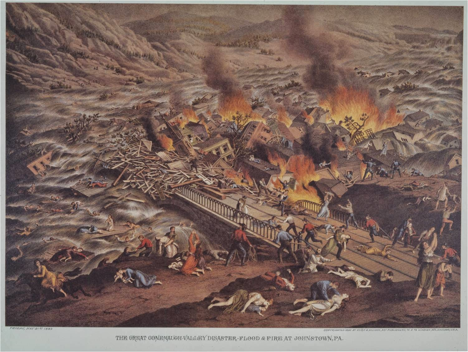 Many Who Were Not Drowned Were Trapped In The Debris And Immolated. Credit:  Johnstown Area Heritage Association. Kurz U0026 Allison, Color.