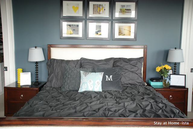 Charcoal pintuck bedding