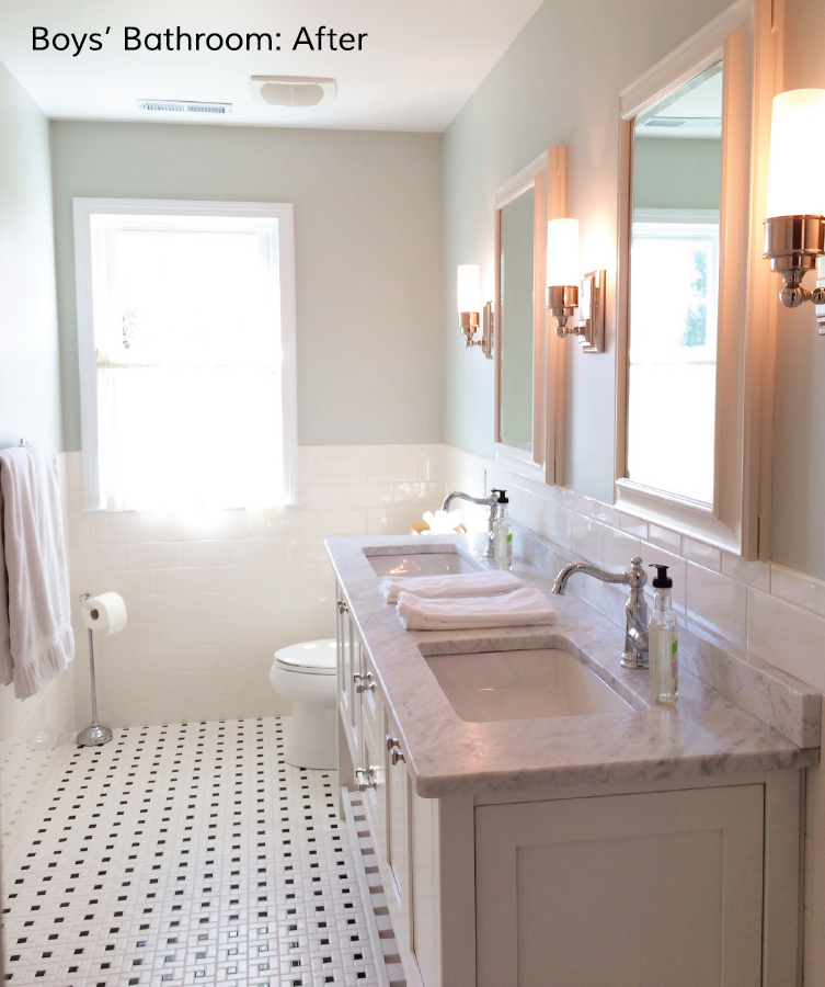 Easton place designs blog boys 39 bathroom before and after for Boys bathroom designs