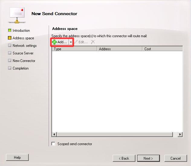 Añadir Address space al nuevo conector de envío.