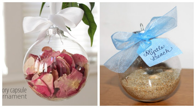 Christmas Ornaments using Wedding Bouquet & Honeymoon Sand