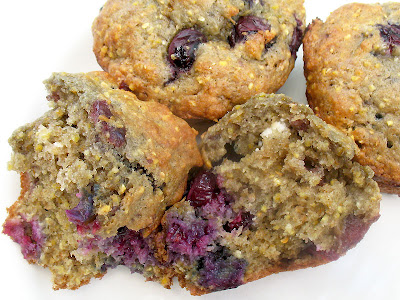 blueberry goat cheese muffins with cherry jam