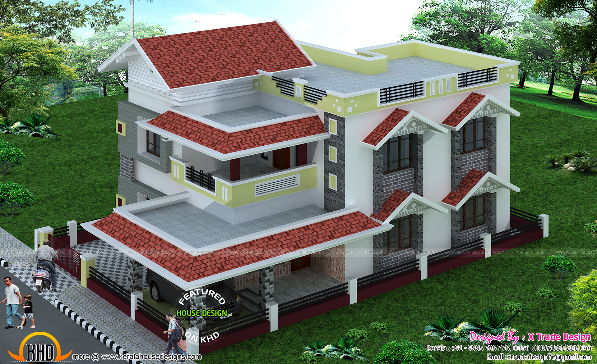 2581 sq ft house by x trude design kerala home design for House front model design