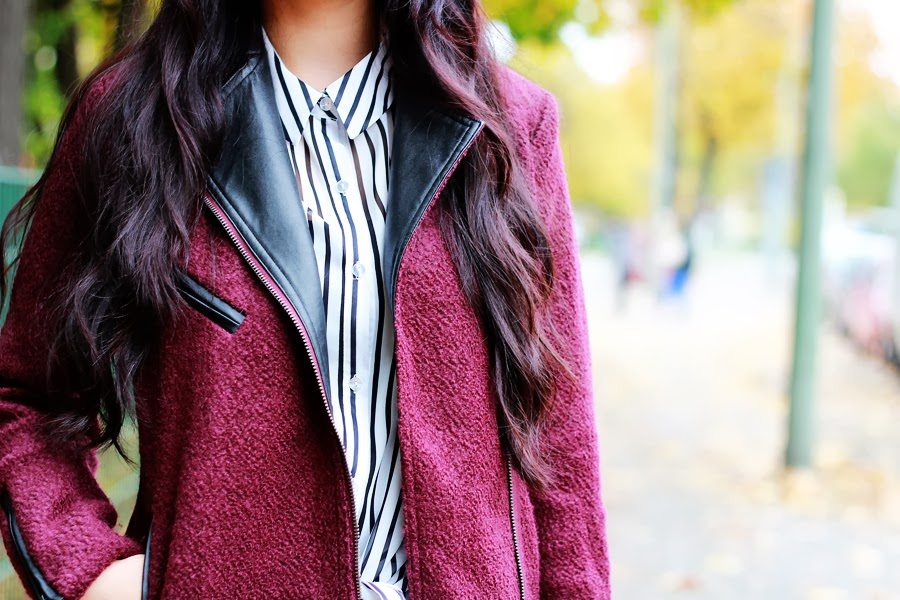 Burgundy Biker Coat Asos