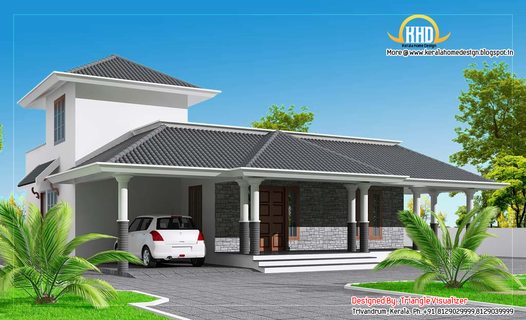 Sloping roof house elevation 1860 sq ft indian house for Sloped roof house plans in india