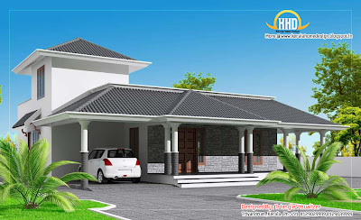 Sloping roof house elevation with one room on first floor - 173 Sq M (1860 Sq. Ft) - February 2012