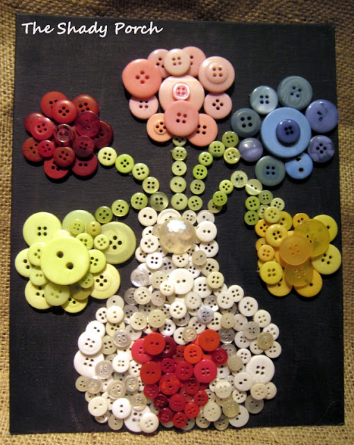 Vase and Flower Art made out of buttons by The Shady Porch