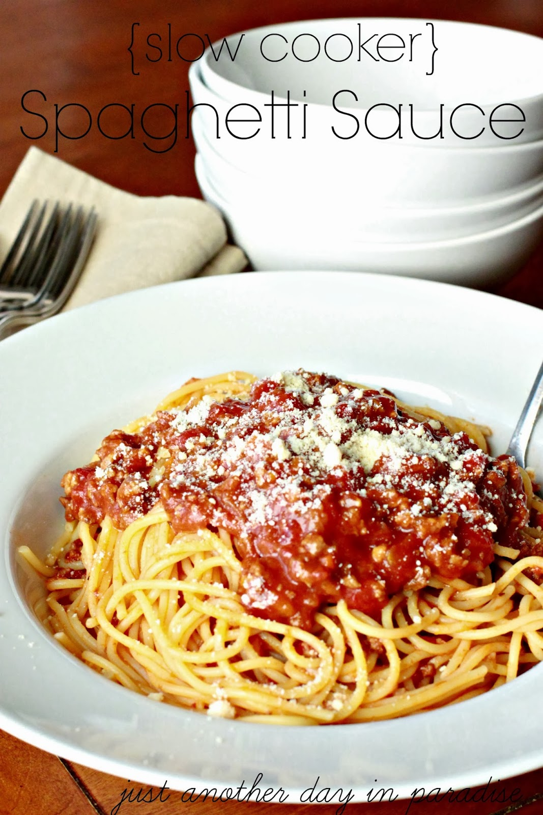Just Another Day in Paradise: Spaghetti Sauce {Slow Cooker Saturday}