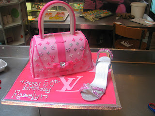 Louis Vuitton Pink and Silver handbag cake