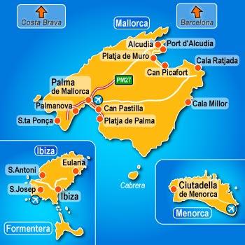 îles Baléares Carte de la ville   Carte Espagne Ville Région