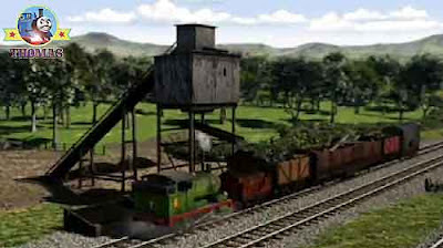 Thomas the tank engine friends Percy and Diesel the train engine Island of Sodor coal hopper refill