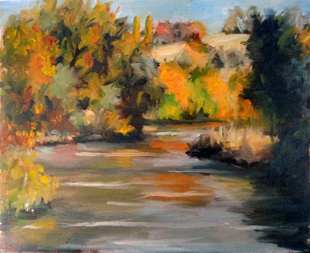 Oil painting of a river edged by trees in autumn colours.