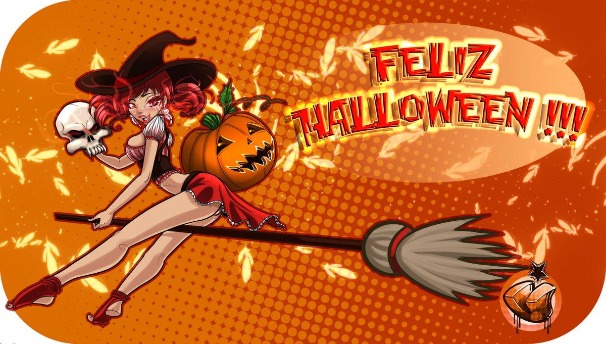 cartoon halloween girl - Happy Halloween Cartoon Pics