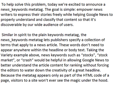 Google announce for news publishers