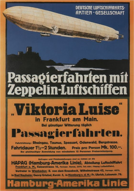 WWI zeppelin poster German Just Peachy, Darling
