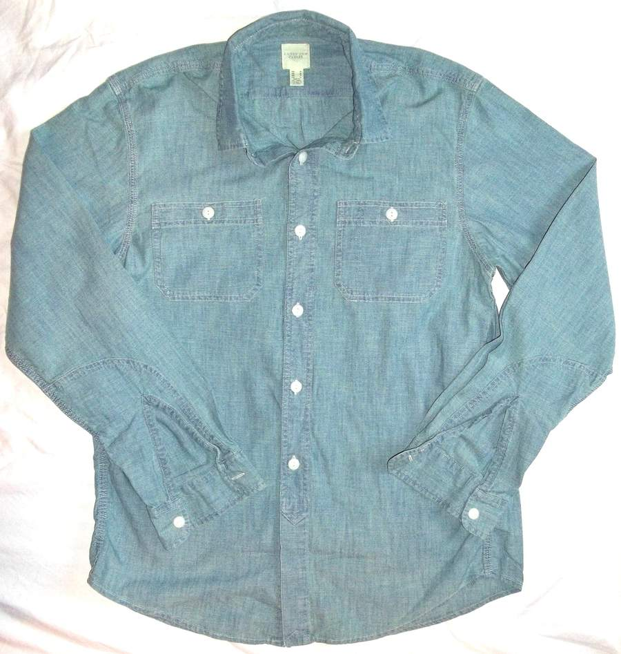 New Lands' End Canvas Men's The Heritage Chambray Workshirt Long Sleeve Button