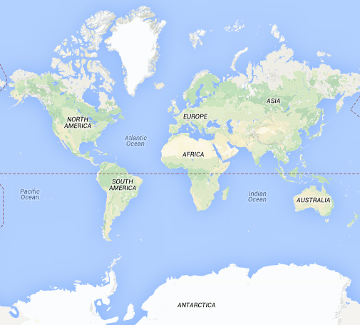 Show whole world by default in Google Maps