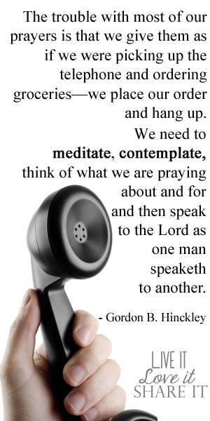 The trouble with most of our prayers is that we give them as if we were picking up the telephone and ordering groceries—we place our order and hang up. We need to meditate, contemplate, think of what we are praying about and for and then speak to the Lord as one man speaketh to another. - Gordon B. Hinckley
