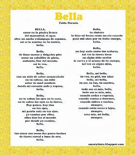 Poema Bella de Pablo Neruda