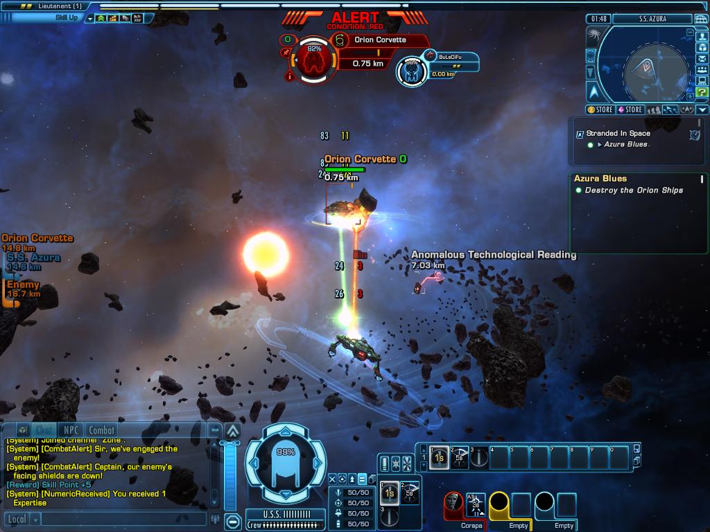 Online space combat games