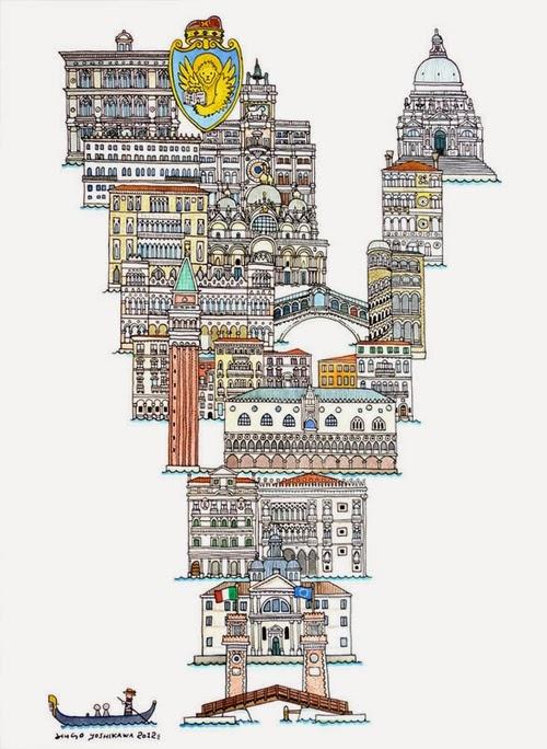 22-V-Venice-Italy-Hugo-Yoshikawa-Illustrated-Architectural-Alphabet-City-Typography-www-designstack-co