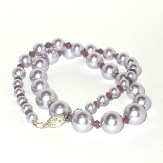 Lavender Swarovski Pearl Necklace by Lilies and Laurel