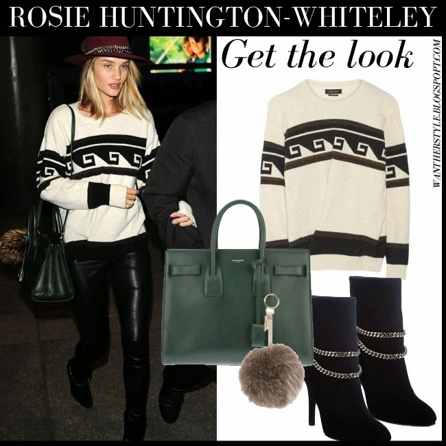 Rosie Huntington-Whiteley in white and black knit sweater from Isabel Marant Samuel with black leather pants and black suede ankle boots Saint Laurent Debbie want her style february 28