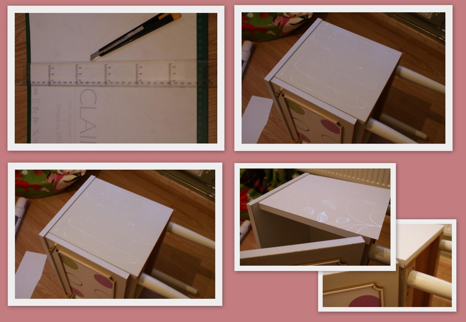Meet de zijkant op, snij het papier, doe lijm op de zijkant, strijk ...