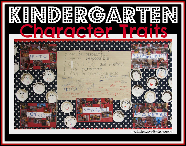 photo of: Bulletin Board of Classroom Rules, photographs of Positive behavior traits and individual self-portaits