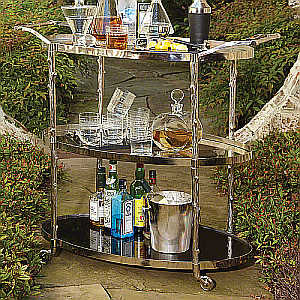 oval bar cart