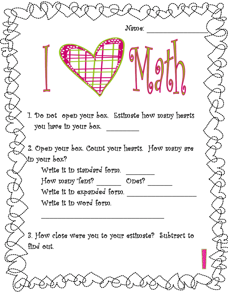 Uncategorized Valentine Math Worksheets First Grade 100 valentines worksheets pronoun valentine pdf school ela adventures of the polka dotted teacher s day freebies freebies
