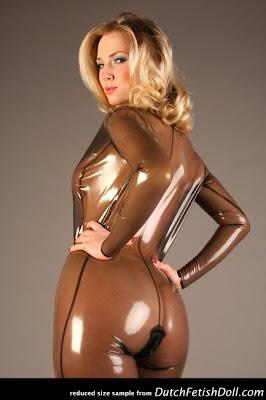 Ancilla Tilla Perfect Ass in Transparent Latex Catsuit
