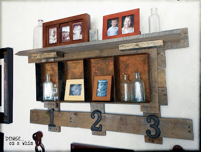 Pallet wood and rusty metal shelf via http://deniseonawhim.blogspot.com