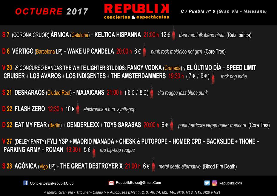 Conciertos en Octubre de 2017 en Republik