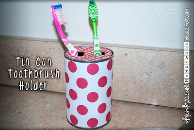 Tin Can Toothbrush Holder