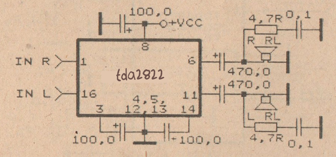 schematic audio power amplifier with ic tda2822 subwoofer bass