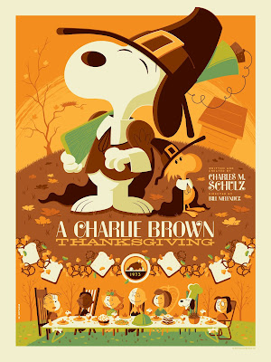"Dark Hall Mansion - ""A Charlie Brown Thanksgiving"" Standard Edition Screen Print by Tom Whalen"