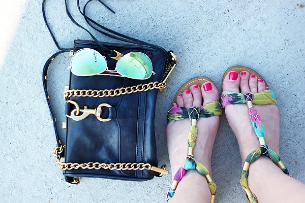 rebecca minkoff mini mac, mirrored aviators, colorful sandals