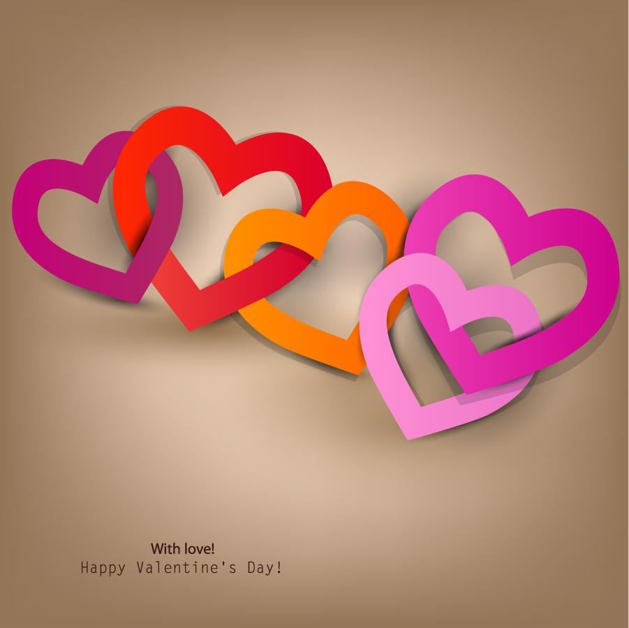 バレンタインデーのハート型リング Happy Valentine's Day Heart to Heart イラスト素材