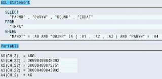 SAP ST05 SQL Trace output SQL statement with bind variables