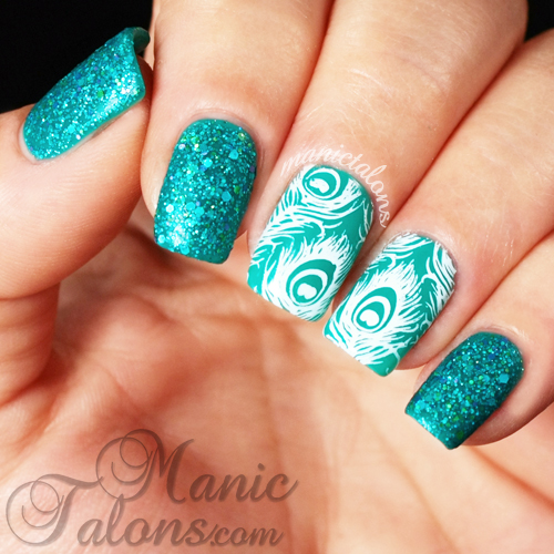 Peacock Manicure, KBShimmer She Twerks Out, Textured Polish, Stamping