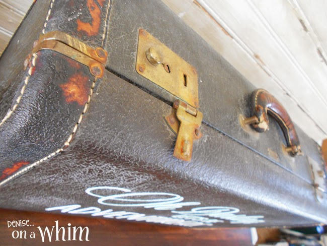Gorgeous Details from a Vintage Suitcase Repurposed as a Sign | Denise on a Whim