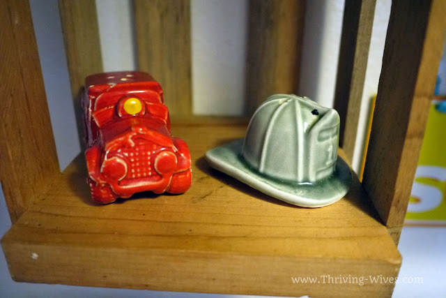 vintage firefighter salt and pepper shakers