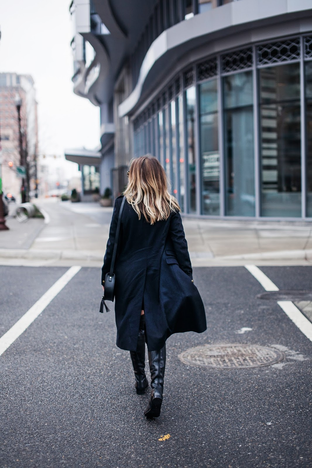 military style coat, all saints coat, sale coat, navy coat, over the knee black boots, free people boots, sandro mini skirt, military style mini skirt, outfit, style blogger, dc style blogger, dc fashion blogger, outfit styling tips