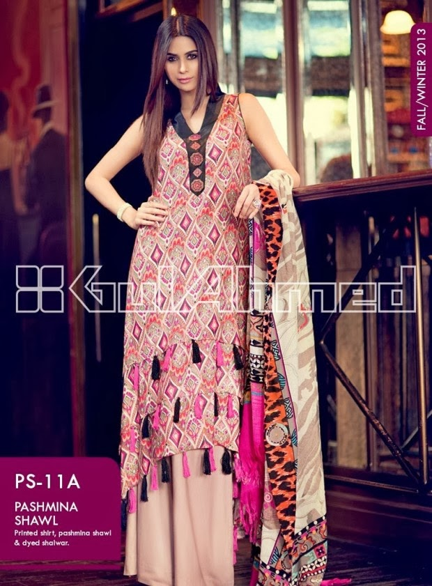 Gul Ahmed Fall Winter Embroidered Khaddar Collection 2014