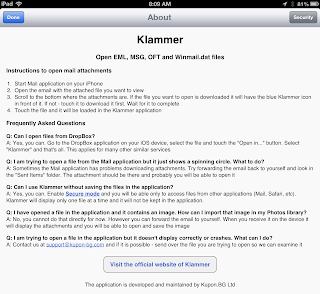 Image of Klammer app's about page.