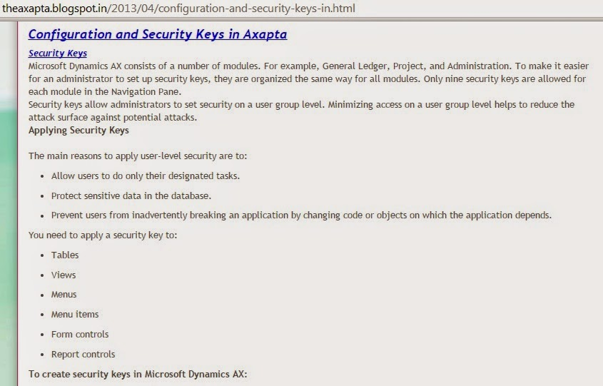 Configuration and Security Keys in Axapta