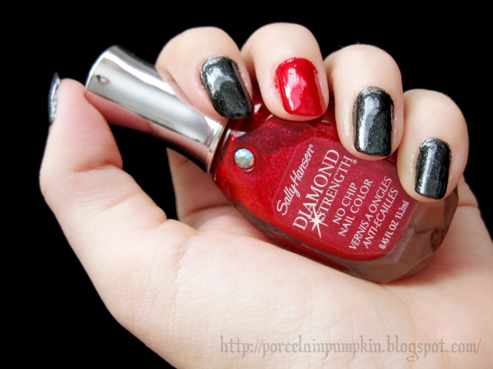 The Porcelain Pumpkin: Manicure of the Week: Red, Black, and Rude