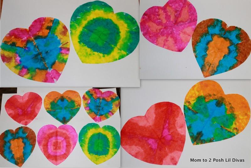Mom To 2 Posh Lil Divas Valentine Craft Tie Dye Hearts