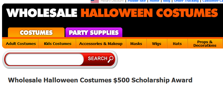 Wholesale Halloween Costumes $500 Scholarship Award - 2017 2018 ...